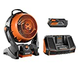 Ridgid 18 Volt gen5x Portable Hybrid Job site Fan R860720 + R840087 Battery & R840095 Charger