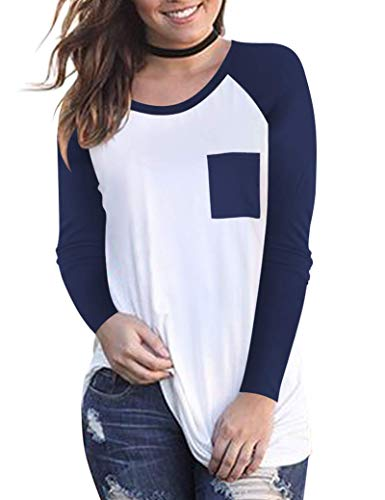 (Women Baseball T Shirt Long Sleeve Raglan Tees Color Block Tops and Blouse Navy Blue S)