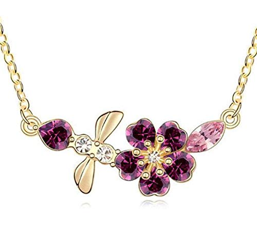New Womens Dragonfly Purple Crystal Rhinestone Gold Chain Pendant Necklace