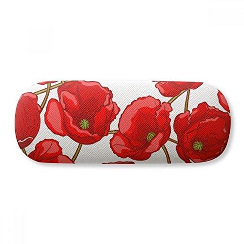 Red Flowers Corn Poppy Bespread Glasses Case Eyeglasses Clam Shell Holder Storage Box
