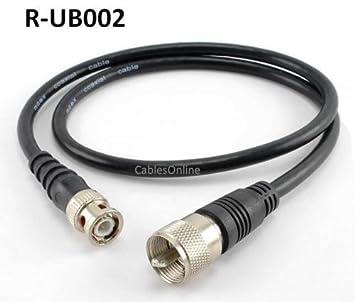 2 ft RG8 X cable coaxial (UHF PL259) macho BNC macho Plug 50 Ohm