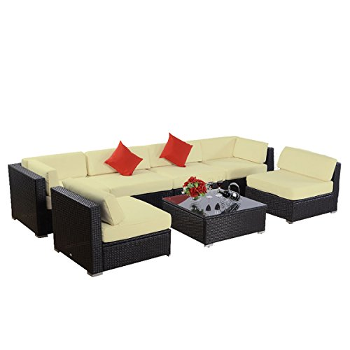 7pcs Polar Aurora Furniture Sectional PE Wicker Rattan Sofa Set Deck Couch (Black)