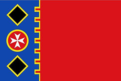 magFlags Bandera Large Paño de proporción 2/3, Rojo; tercio al asta Azul almenado con un Filete Amarillo | Bandera Paisaje...