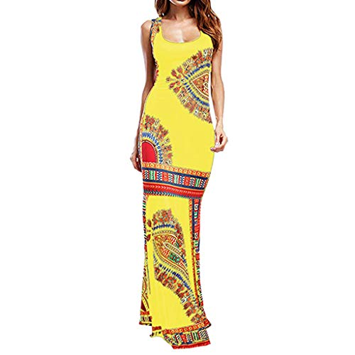 Maxi Dress for Women,SMALLE◕‿◕ Women's Ele Dress Sleeveless Tank Bodycon Sundress Casual Evening Party Dress Yellow