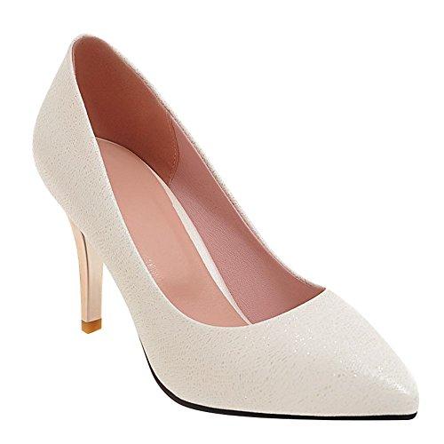 tacón estrecha con alto de Zapatos tacón mujer Mee blanco zapatos punta alto y para xc8nT78r