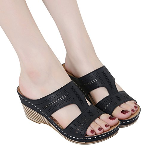 Threading Dear Time Sandal Slide Dear Black Time Women's Pierced Wedge Women's wH4qSf