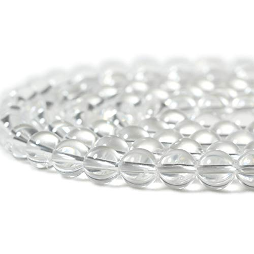 CHEAVIAN 45PCS 8mm Natural Clear White Crystal Quartz Round Loose Beads Crystal Energy Stone for Jewelry Making 1 Strand 15