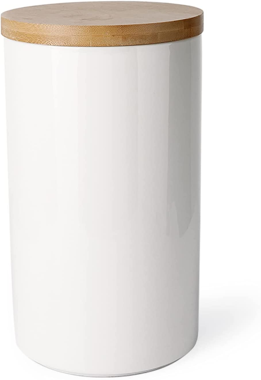 Sweese 817.101 Kitchen Canister, 65oz/1930ml Porcelain Food Storage Jar with Bamboo Lid for Ground Coffee, Flour, Tea, Sugar, Airtight Coffee Container, White