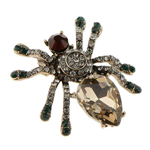 Dazzling Alloy Rhinestone Spider Insect Brooch Clip Pin Charm Jewelry Party | Color - Champagne