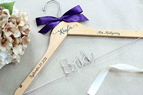 Personalized Wire and Decal Bridal Hanger, Bridesmaid Hangers, Bride Hanger, Mrs Hanger, Wedding Hangers, Custom Vinyl Title Hangers -
