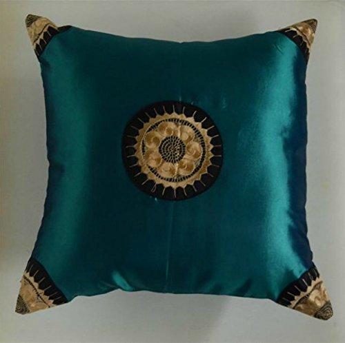 Funda de cojín de seda, color verde esmeralda: Amazon.es: Hogar