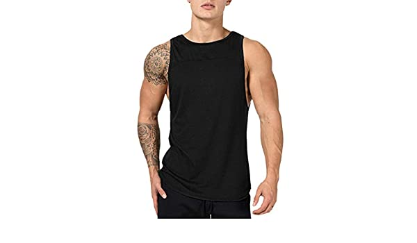 d0a9531bf8a00d Amazon.com  NUWFOR Men s Muscle Sleeveless Tank Top T-Shirt Bodybuilding  Sport Fitness Vest(Black