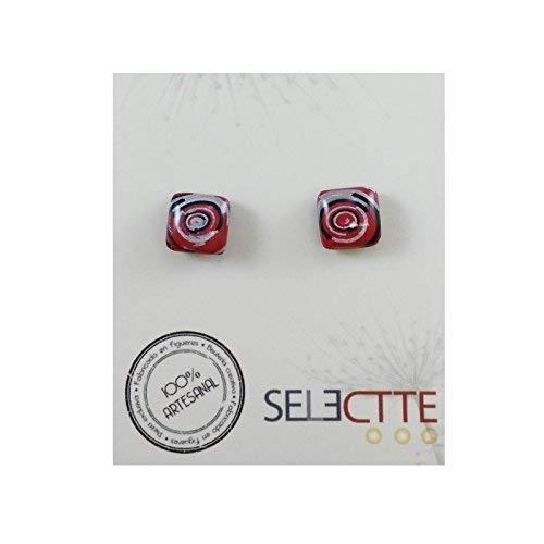 01d4671445c8 Pendientes de mujer cuadrados diseño espiral con tonos Rojos chapados en  plata