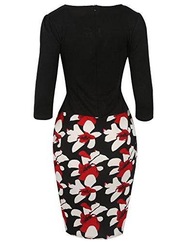 MODETREND Mujeres Vestidos con Cinturón Manga 3/4 Estampado Floral Empalme Tulipán Vestido Falda de la Cadera del Paquete para Fiesta Bodas Cóctel Negro