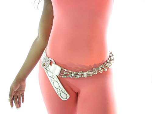 Chain Belt and Rhinestones Belt and Rhinestones White and Chain Rhinestones White SxqOCAwnpf