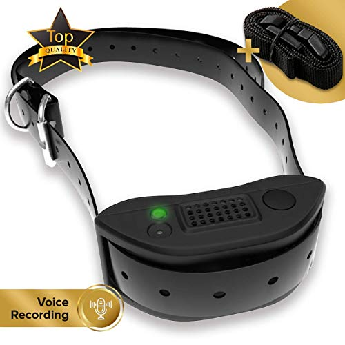[Newest 2019] Rechargeable Bark Collar - Upgraded Smart Detection Module w/Triple Anti Barking Modes: Beep/Vibration/Shock for Small, Medium, Large Dogs Breeds - IPx7 Waterproof (Voice Version)