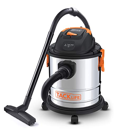 Stainless Steel Shop Vac, 5.5 Peak HP, 5 Gallon, 1000W Wet Dry Vacuum, Cover 320 Square Feet Clean Range, 4-Layer Filtration System, Dry/Wet/Blow 3 in 1 for Cleaning Needs-PVC02A