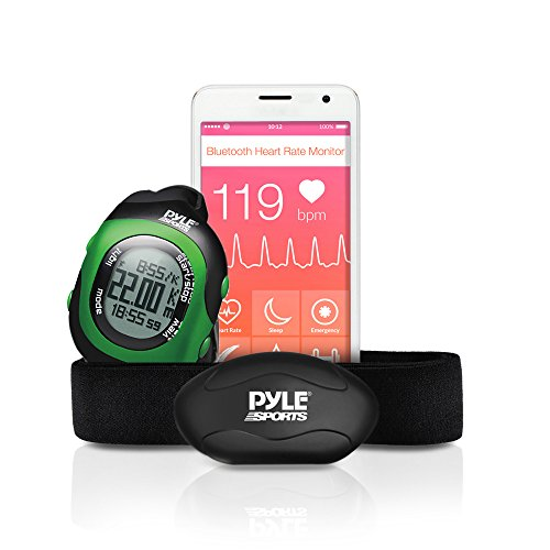Pyle Fitness Smart Watch and Heart Rate Monitor; Bluetooth LE Heart Rate Sensor Works with Polar, ALA Coach, MotiFit and Strava Goal Tracking Apps For iPhone iPhone 6 & Android Phones (Green) (Marathon Heart Rate Monitor)