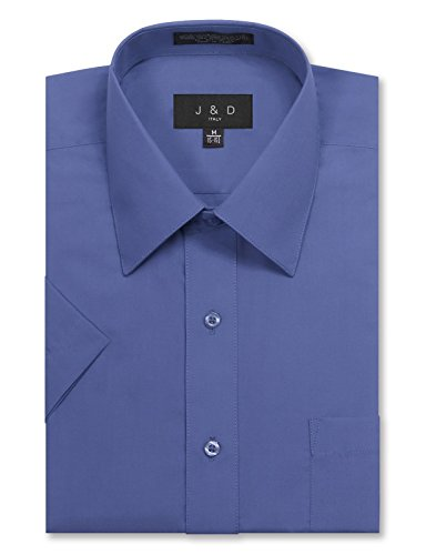 JD Apparel Men's Regular Fit Short Sleeve Dress Shirts 15-15.5N M French Blue