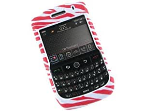 Hard Plastic Design Protector Cover Case White and Hot Pink Zebra Skin For BlackBerry Curve 8900