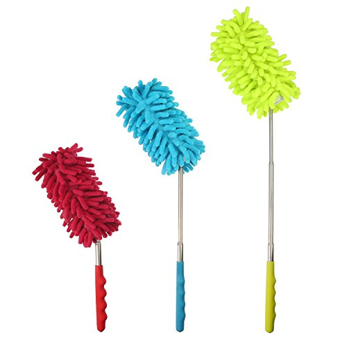 Bendable Microfiber Duster Dusting Brush with Extendable Pole, Washable...
