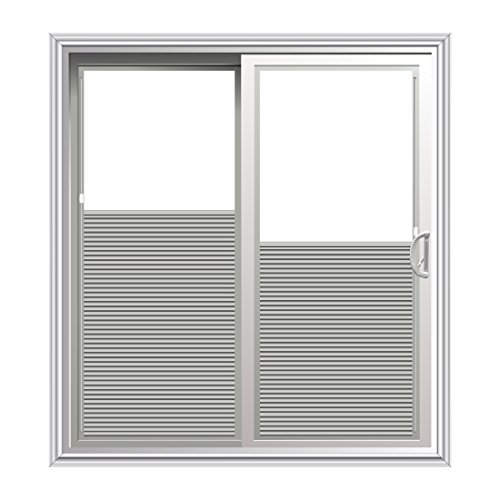 Sliding Patio Door with Shades Between Glass in White, 94