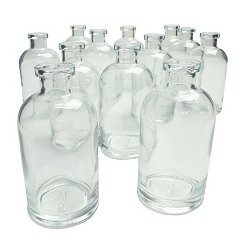 - ylinder Food Safe Glass Bottles and Bud Vases, 5 inches, 8 oz Containers, Round Oil Holders, Kitchenware, Decorative Jars for DIY Crafts, Apothecary Diffusers, (Clear), (12 Pack)