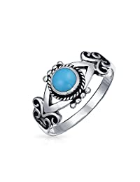 Boho Bali Style Ring For Teen For Women Band Blue Stabilized Turquoise 925 Sterling Silver Ring December Birthstone