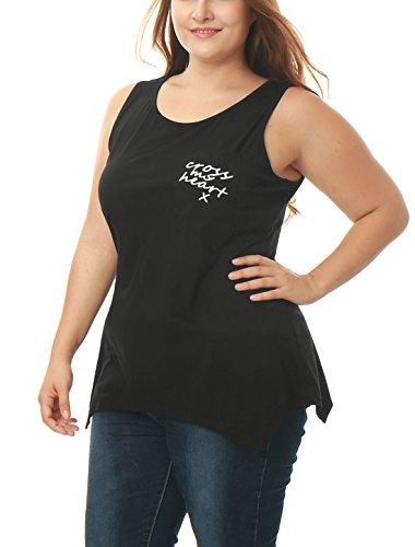 Agnes Orinda Mujer Talla extra dobladillo asimétrico Carta bolsillo túnica Camiseta sin mangas Black