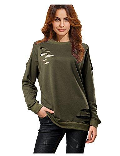 f754cb162d9 Galleon - A Blues Man Womens Sweatshirt Pullover Broken Holes Cold Shoulder  Tops Army Green L