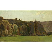 high quality polyster Canvas ,the Vivid Art Decorative Prints on Canvas of oil painting 'Felicien Rops - Landscape in the Ardennes, in the second half of 19th century', 20x33 inch / 51x84 cm is best for Nursery decor and Home decor and Gifts