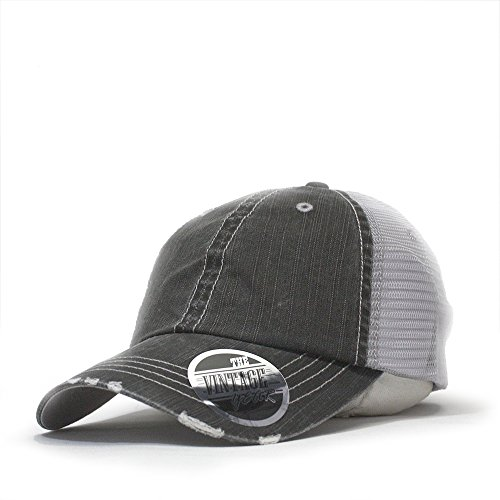 Vintage Year Washed Cotton Low Profile Mesh Adjustable Trucker Baseball Cap (Distressed Black)