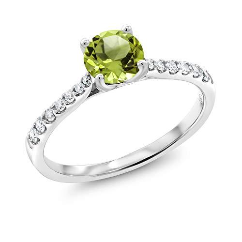 Gem Stone King 0.64 Ct Round Green Peridot G-H Lab Grown Diamond 10K White Gold Ring (Size 9)