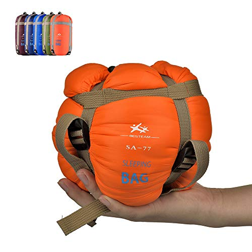 BESTEAM Warm Weather Sleeping Bag, Waterproof, Lightweight, Great Adults Kids, Family Camping, Backpacking, Traveling, Hiking, Outdoor Activities, Spring, Summer Fall Orange