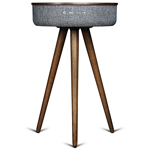 Sierra Modern Home Studio Smart Table with Built In 360° Bluetooth Speaker & Wireless Qi Charger - Black Walnut Wood Night Stand- Modern & Functional...