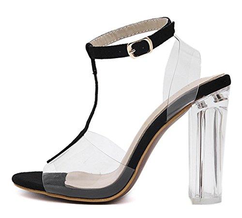 Bloquear Noche Toe Correa Strappy Sandalias Zapatos Verano 3 7 Tamaño Tobillo Mujer Black Peep Fiesta Nvxie Hebilla Negro Tacón Señoras Paseo vqZp5Iw