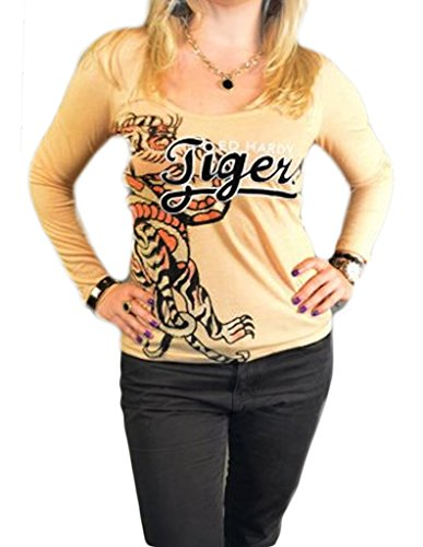 Ed Hardy Women's Tiger Long Sleeve T-Shirt Size XS in Wheat Color