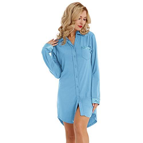 Zexxxy Women's Plus Size Pajamas Nightshirt Pan-Collar Thermal Top Blue 2XL