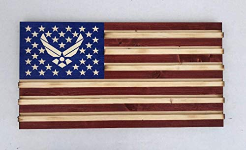 Medium Rustic American Flag Challenge Coin Display for Air Force