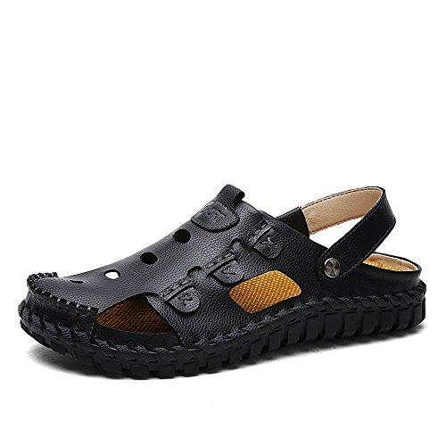 al Ocasionales de y Playa y para de Cuero Mano Zapatos Libre Hombre para Zapatos Hombre XIAOQI Ocasionales a cosidos de Zapatillas Aire Hombre Sandalias Negro 7qIwxCEq