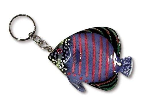 LX Hand Painted Large Purple Tropical Fish Key Chain (Tropical Fish Keychain)