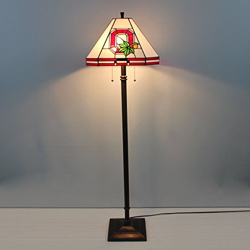 16-inch NCAA Ohio State Buckeyes Stained Glass Square Floor - Style Renaissance Table Lamp