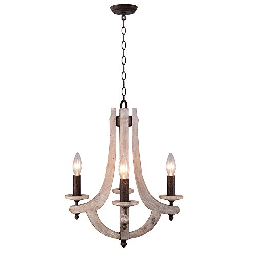 Signstek Lamps Vintage Iron Wood Chandelier Lighting Ceiling Lamp with Candle Holder - Light Seven Candle Chandelier