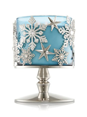 Frosted Star & Snowflake Sleeve Pedestal Candle Holder (Candle Not Included)