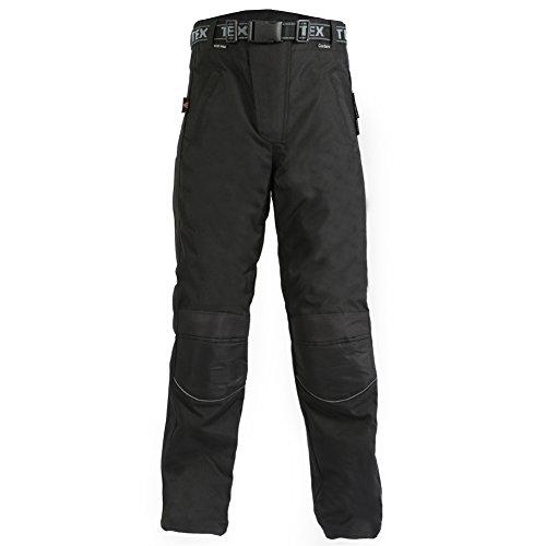 Texpeed - Regenhose für Motorrad/Motorroller mit durchgehendem Reißverschluss am Bein - Wasserdicht - Schwarz - W32 - Long