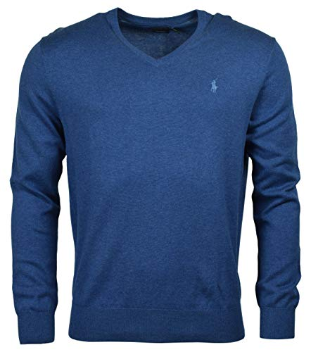 (Ralph Lauren Mens Pima Cotton V-Neck Sweater (Medium, Blue Heather (Blue Pony)))