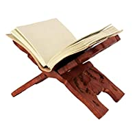 Valentines Day Handcraft Wooden Book Holder Display Stand Folding Religious Prayer Free Reading Stand with Intricate Carvings (Brown 2)