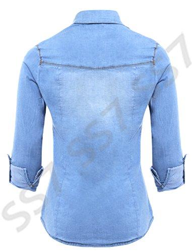 Jean Bleu 14 Nouvelles Chemise 8 Femmes Extensible Jeans SS7 Taille HqOw7RR