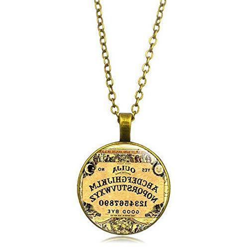 (Mikash Retro Halloween Costume Ouija Board Necklace Pendant Chain Glass Cabochon Gift   Model NCKLCS - 40307  )