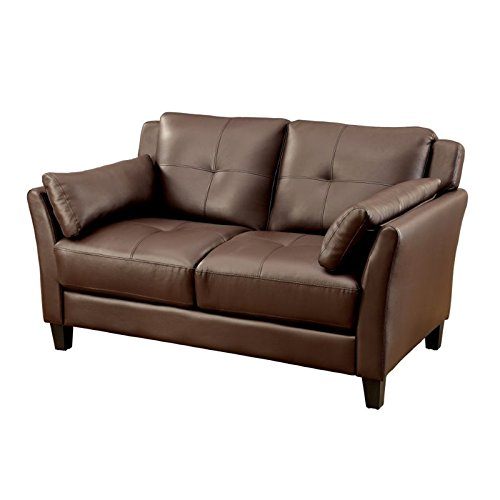 (BOWERY HILL Tufted Faux Leather Loveseat in Brown)